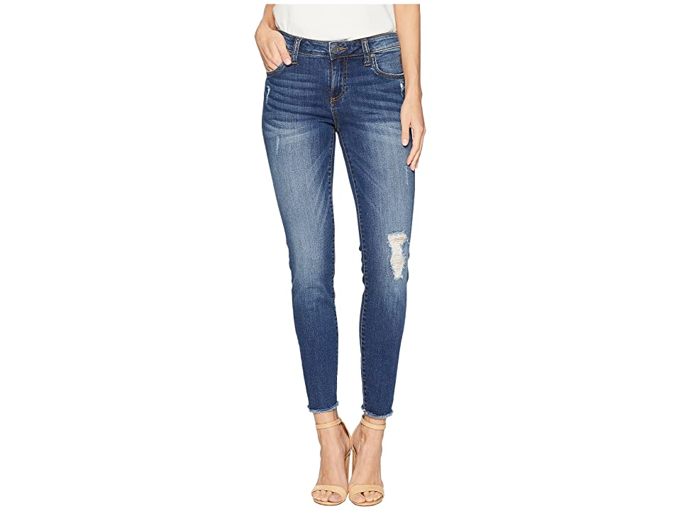 KUT from the Kloth Connie Ankle Skinny Fray Hem Jeans in Accomplished (Accomplished/Medium Base Wash) Women