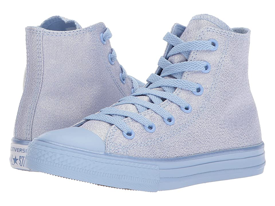 Converse Kids Chuck Taylor All Star Mono Shine Hi (Little Kid/Big Kid) (Blue Chill/Blue Chill/Blue Chill) Girls Shoes