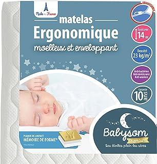 Babysom - Babymadrass minnesskum | barnmadrass 60 x 120 cm – viskoelastisk – ortopedisk – avtagbart överdrag – kallt skum...