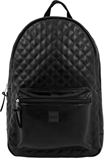 Diamond Quilt Leather Imitation Backpack Mochila Tipo Casual, 45 cm, 22 Liters, Negro (Black)