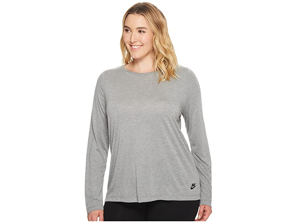 Nike Sportswear Essential Long-Sleeve Top (Size 1X-3X) (Carbon Heather/Carbon Heather/Black) Women