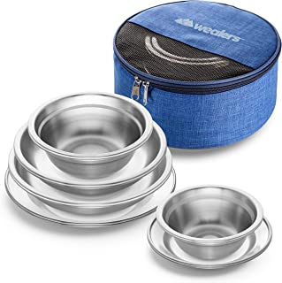 Wealers Stainless Steel Plates and Bowls Camping Set (12-Piece Kit) Small and Large Dinnerware for Kids, Adults, Family | Camping, Hiking, Beach, Outdoor Use | Incl. Travel Bag
