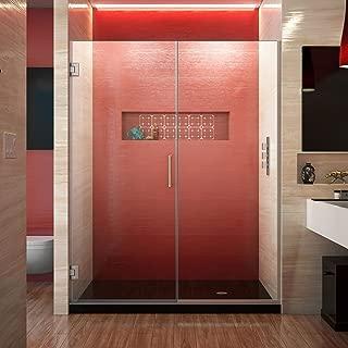 DreamLine Unidoor Plus 57 1/2-58 in. W x 72 in. H Frameless Hinged Shower Door, Clear Glass, Brushed Nickel, SHDR-245757210-04