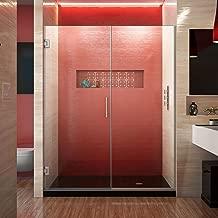 DreamLine Unidoor Plus 54 1/2-55 in. W x 72 in. H Frameless Hinged Shower Door in Brushed Nickel, SHDR-245457210-04