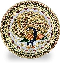 Crafts'man Decorative Puja Thali/Platter with Beautiful Peacock Design for Hindu Temple Rituals, Mandir Temple Accessory -...
