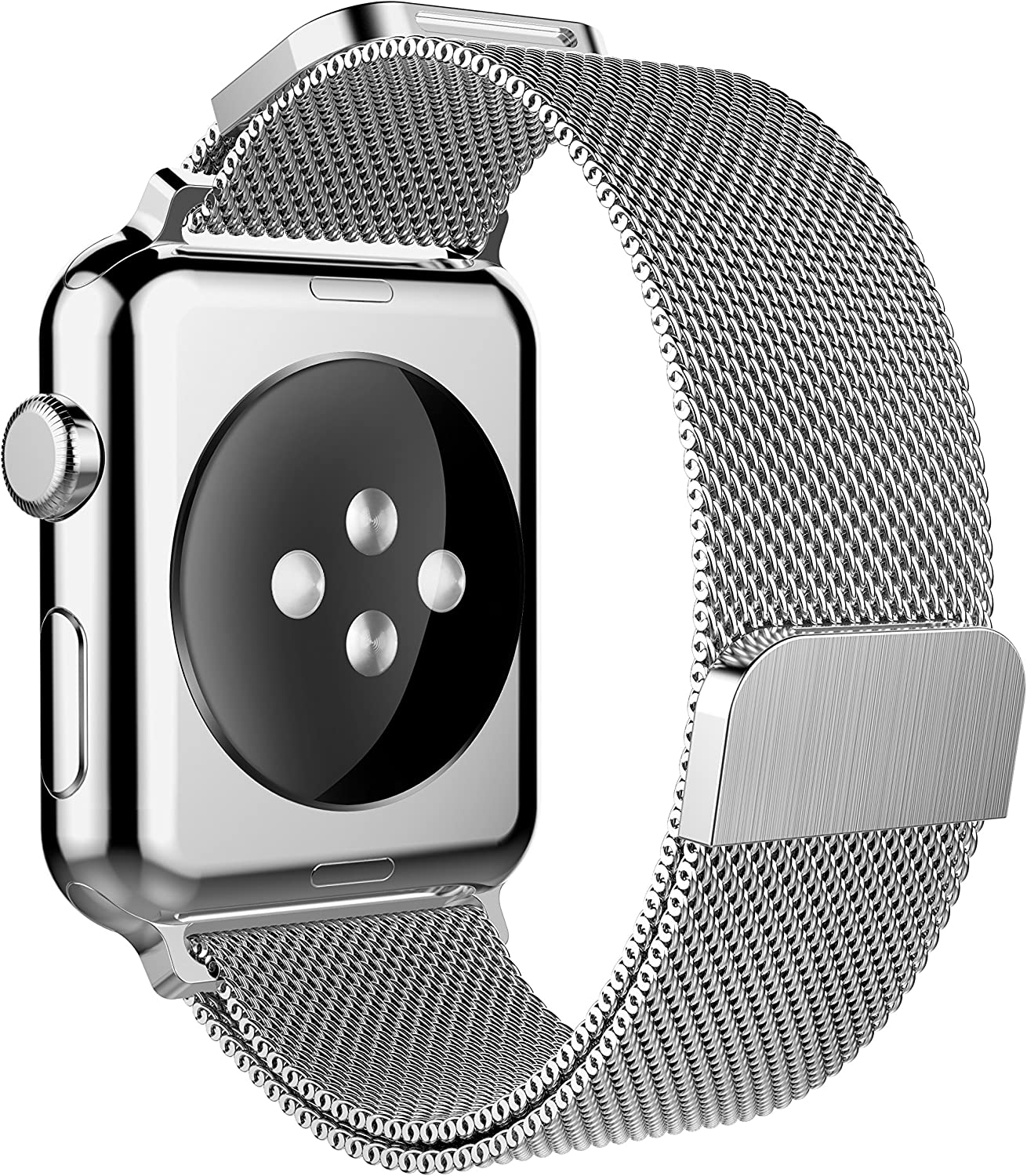 Yaber double head double buckle two-way adjustment Stainless Steel Mesh Band Compatible for Apple Watch 38mm 40mm 42mm 44mm Series SE 6 5 4 3 2 1