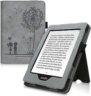 kwmobile 対応: Amazon Kindle Paperwhite (10. Gen - 2018) ケース - 電子書籍カバー ヌバック レザー風 - オートスリープ reader プロテクション タンポポの綿毛ラブデザイン グレー