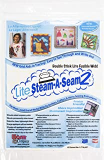 """Warm and Natural Warm Company Lite Steam-A-Seam 2 Fusible Web 5pc 6/Pk-Double Stick 9""""X12"""" FOB: MI, 6 Pack"""