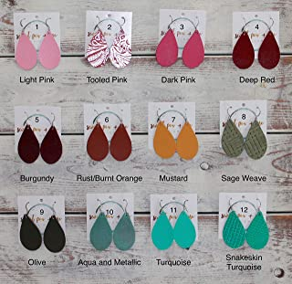 Extra Small Genuine Leather Teardrop Earrings - 53 Stylish Colors to Choose From