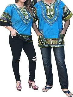 African Men Women Dashiki Shirt Top Blouse Hippie Tribal Caftan with two pockets