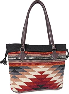 Handwoven Wool Malibu Purse with Genuine Leather handles. Large Eco Friendly Tote Bag, Native American Styles ((M) Black and Beige Diamond)