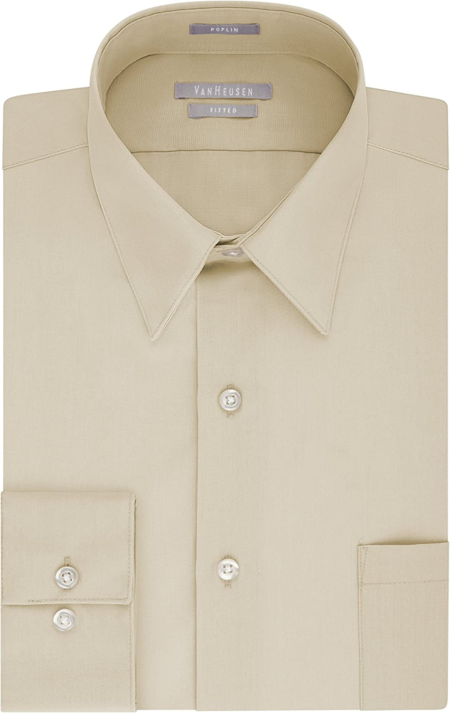 1920s Men's Shirts and Collars History Van Heusen Mens Dress Shirt Fitted Poplin Solid  AT vintagedancer.com