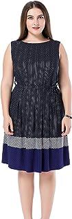 فستان شيك للنساء مقاس كبير مطبوع عليه خطوط شيفرون بدون أكمام - طول الركبة كاجوال للحفلات وفستان العمل