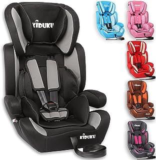 KIDUKU Kindersitz 9-36 kg 1-12 Jahre - Autositz ECE R44/04, Gruppe 1/2/3 Autokindersitz Kinderautositz, Schwarz/Grau