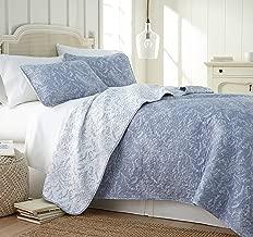 Southshore Fine Linens - Winter Brush Print Reversible Quilt Set, Blue, King/California King