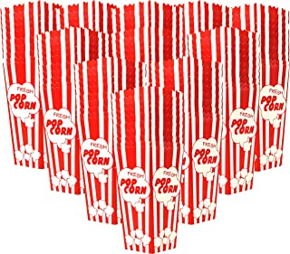 110 Popcorn Boxes 7.75 Inches Tall & Holds 46 Oz. Old Fashion Vintage Retro Design Red & White Colored Nostalgic Carnival Stripes like Popcorn Bags & Popcorn Tubs [other quantities available] Salbree