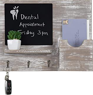 MyGift Rustic Barn Gray Wall-Mounted Letter Holder & Key Hooks with Chalkboard