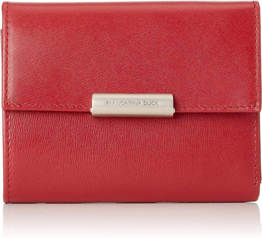 Mandarina duck  hera 3.0, portafoglio, porta carte di credito da donna, in vera pelle, rosso P10RAP14