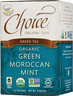Choice Organic Teas Green Tea, 16 Tea Bags, Green Moroccan Mint