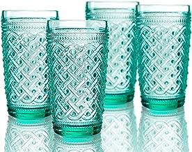 Elle Decor 229807-4HBGR Bistro Ikat Set of 4 Highballs, Green-Glass Elegant Barware and Drinkware, Dishwasher Safe, 13 oz