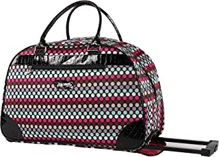 Women's 22 Inch Printed Rolling Carry-On (One Size, Black Polka Dot)