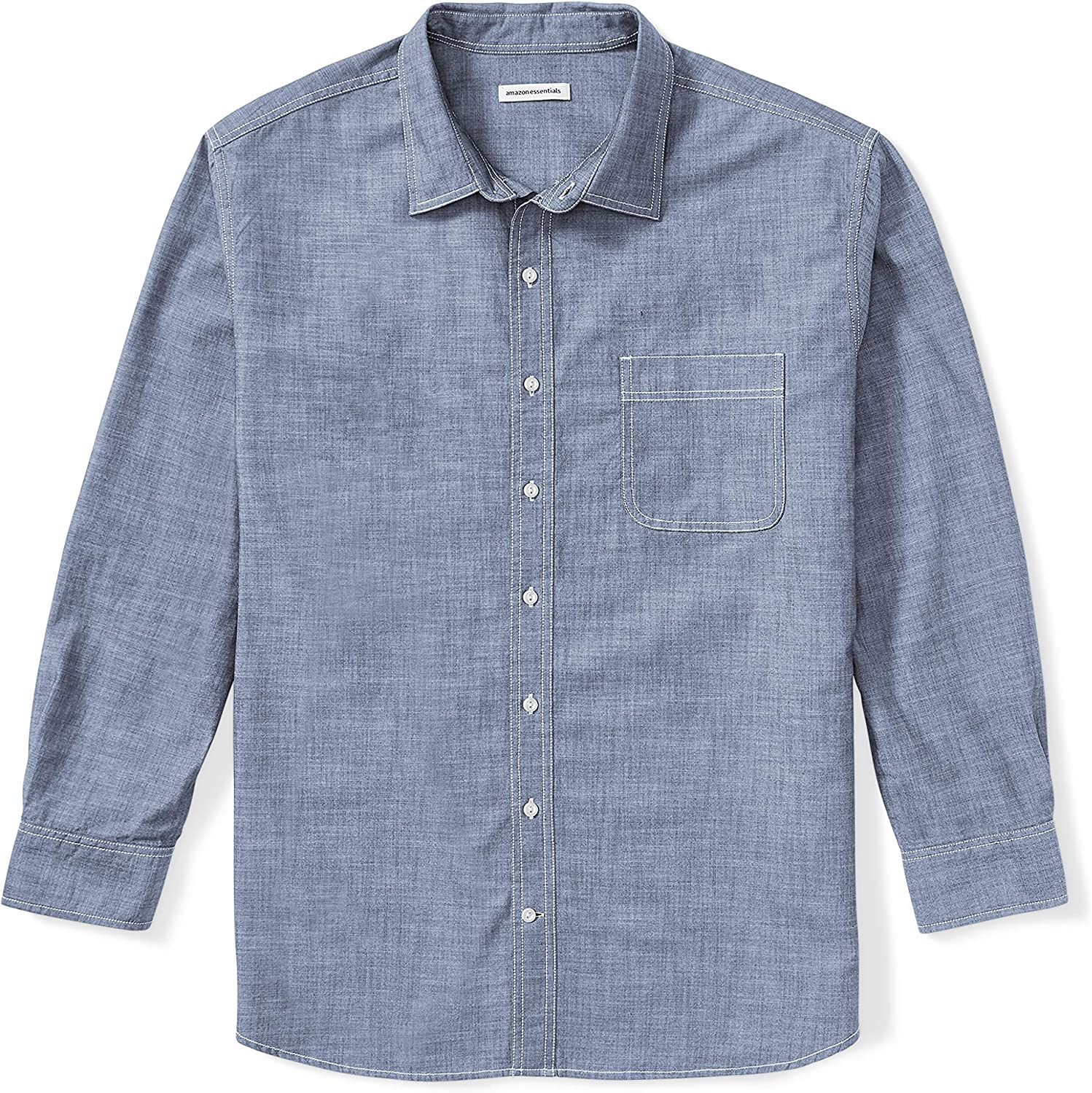 Amazon Essentials Men's Big & Tall Long-Sleeve Chambray Shirt fit by DXL