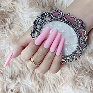 Sponsored Ad - MISUD Extra Long Coffin Fake Nails, 100Pcs/Box False Nails Matte Pink Full Cover Press on Nails Manicure Ar...