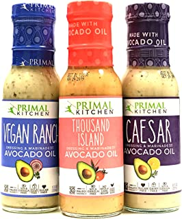 Primal Kitchen Dressing 3 Pack Sampler, Whole 30 Approved & Paleo Friendly (Thousand Island, Vegan Ranch, Caesar) 8oz Each