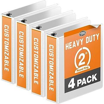 "Wilson Jones Heavy Duty Round Ring View Binder, 2"", White, 4-Pack (W70363-44W)"