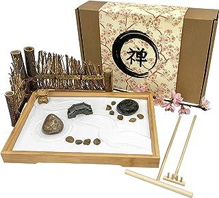 Japanese Zen Garden for Desk - 11x7.5 Inches Large - Bamboo Tray, White Sand, River Rocks, Pebbles, Rake Tools Set - Offic...