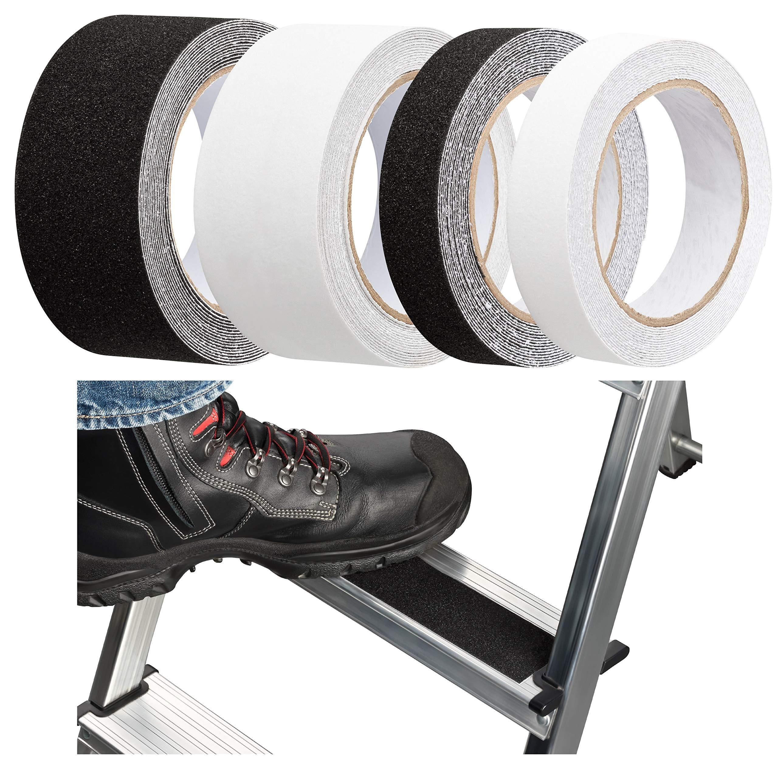 Cinta antideslizante autoadhesiva para escaleras, escaleras, andamios, escaleras, exterior e interior, 25 mm o 50 mm de ancho, transparente o negro: Amazon.es: Bricolaje y herramientas