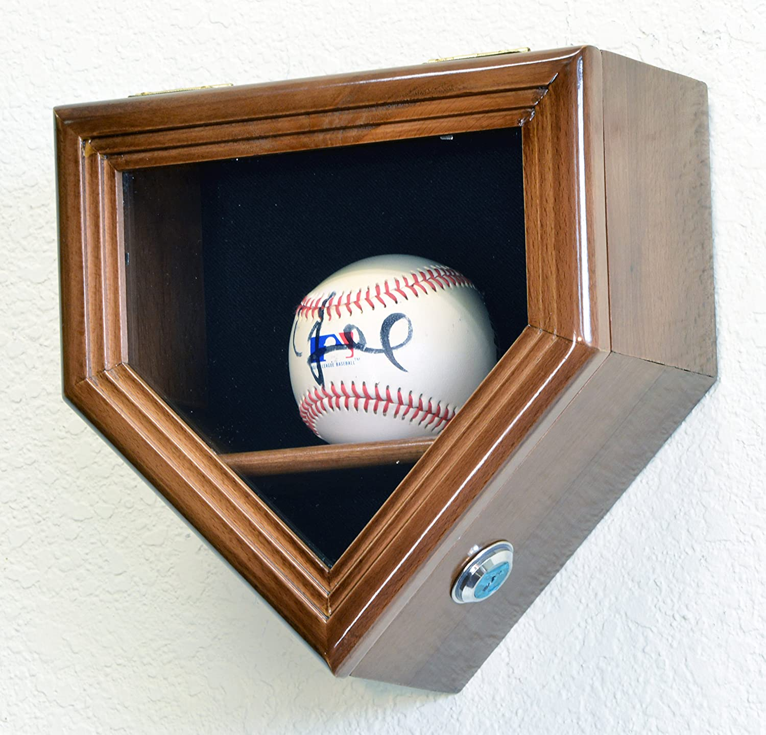 1 Baseball Ball Home Plate Display Case Holder Wall Rack Box