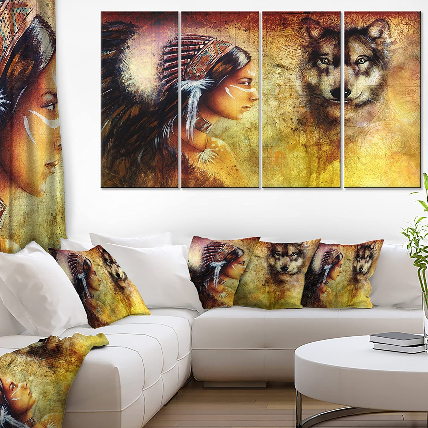 Easy-to-use Long Beach Mall Designart Woman with Wolf-Portrait Print-48x28-4 Canvas Art Piec
