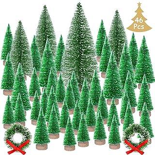 KUUQA 46Pcs Mini Navidad Village Trees Cepillo de Botella Árboles Sisal Árboles de Bosque nevado con Coronas navideñas para Decoraciones de Casas de Navidad, Modelos de Diorama