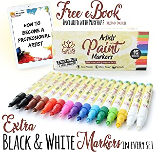 Fine Tip Acrylic Paint Pens For Rocks - 2 Extra Black/White - Ceramic, Fabric, Glass, Metal, Leather (Nearly Any Surface), Set of 15 Vibrant Water Based Fine Point Markers, No Bleed Guarantee