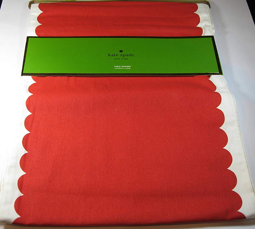 Kate Spade Colorblock Scallop Border Table Runner 100 Cotton Cranberry 15 X 90