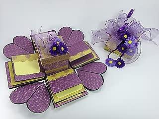 Scrapbook Handmade Explosion Box Violet Daisies Mini Album #75