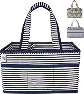 Little Grey Rabbit Premium Baby Diaper Caddy | Nursery Storage Bin & Organizer Basket for Infant Items | Holds Diapers, Lotions, Wipes, More | Perfect Baby Shower Gift | Navy & White Stripe