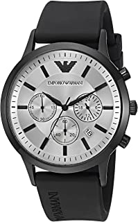 ​Emporio Armani Men's Quartz Watch with ​Black ​​Silicone Strap, Black, 21 (Model: AR11048)