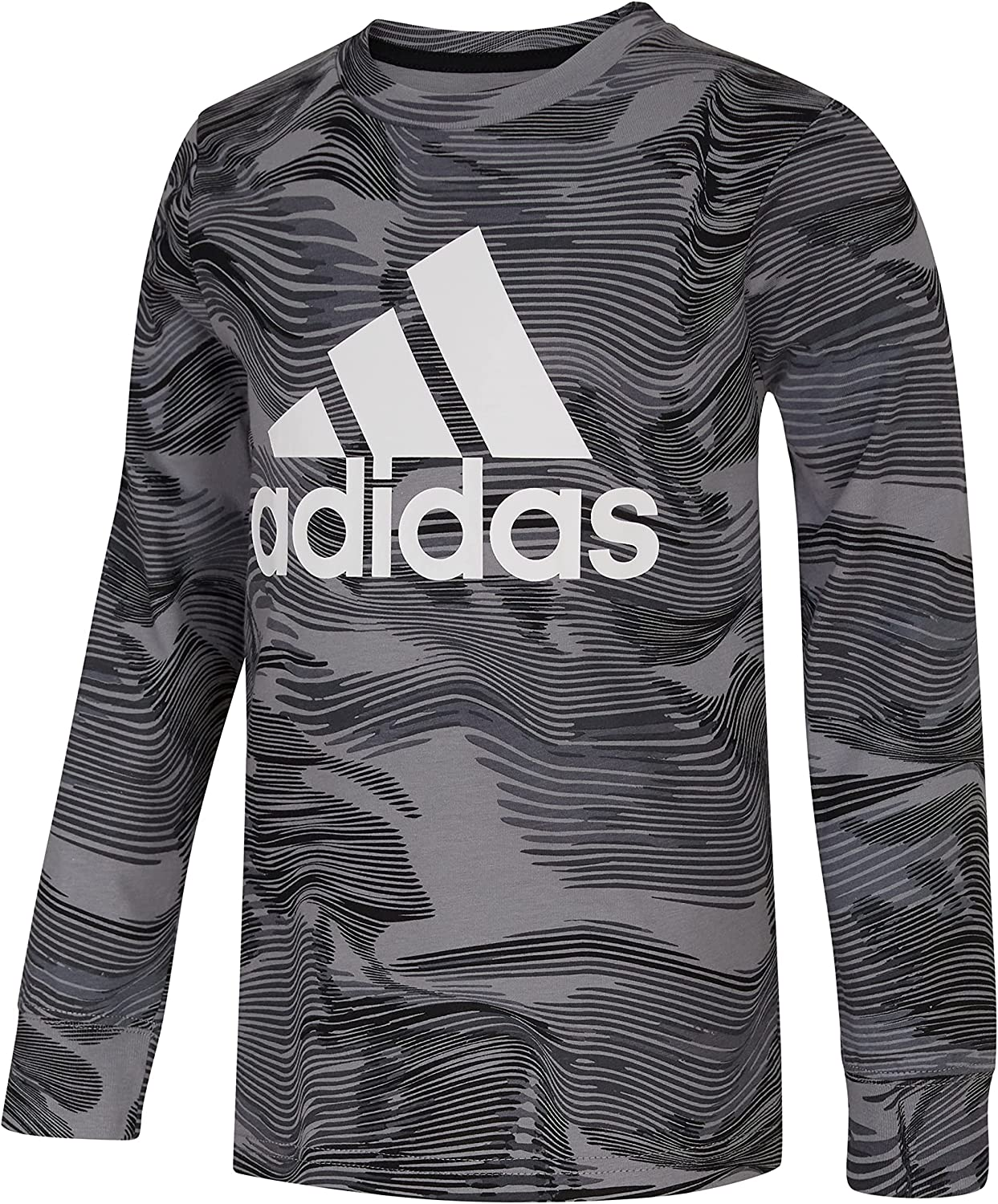 adidas Boys' Long Sleeve Warped Camo Allover Print Tee: Clothing, Shoes & Jewelry