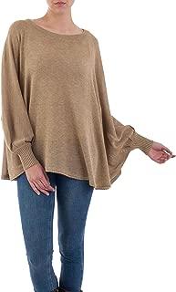 NOVICA Light Tan Cotton Blend Knit Bohemian Drape Sweater, Coastal Breeze'