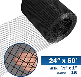 Fencer Wire 16 Gauge Black Vinyl Coated Welded Wire Mesh Size 0.5 inch by 1 inch (2 ft. x 50 ft.)
