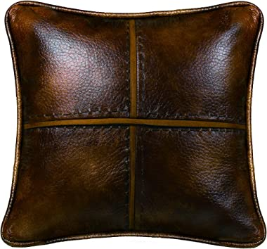"""HiEnd Accents Brighton Cross Stitched Faux Leather Decorative Throw Pillow, 18"""" x 18"""", Chocolate Brown"""