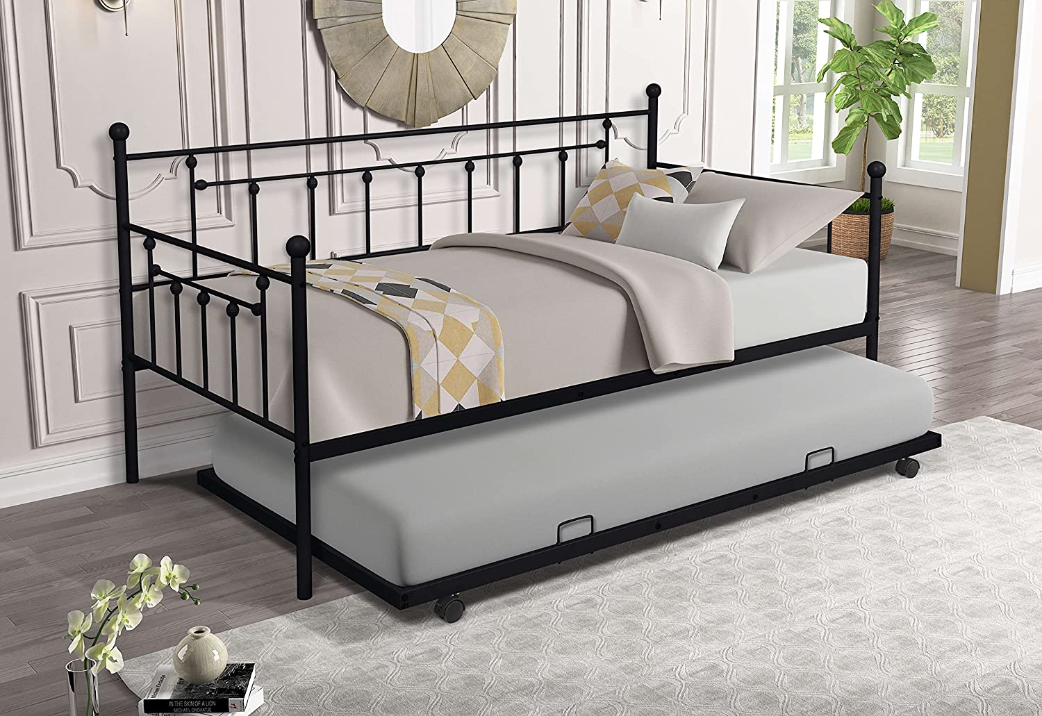 Washington Mall Twin Size Metal Frame Daybed with Slat Steel Duty Trundle Heavy Free Shipping New
