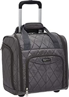 AmazonBasics Underseat Carry-On Rolling Travel Luggage Bag, 14-Inches - Grey Quilted
