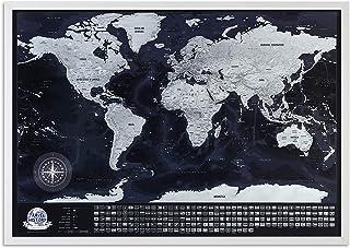 Mapa del mundo con enmarcado, mapa detallado con banderas