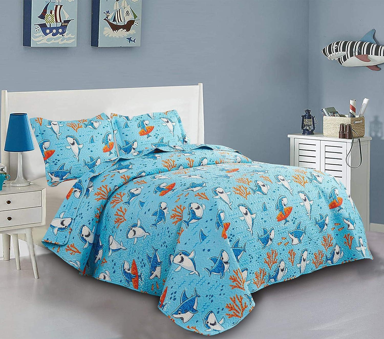 Kids Bedspread Coverlet Set Twin Size Kids Quilt Boys Shark Quilt ...