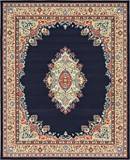 A2Z Rug Traditional Navy Blue 8' x 10' Mashad Collection Area rug Perfect for any floor & Carpet