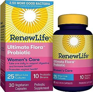 Renew Life #1 Women`s Probiotics 25 Billion CFU Guaranteed, 10 Strains,  Shelf Stable, Gluten Dairy & Soy Free, 30 Capsules, Ultimate Flora Women`s Care - 60 Day Money Back Guarantee
