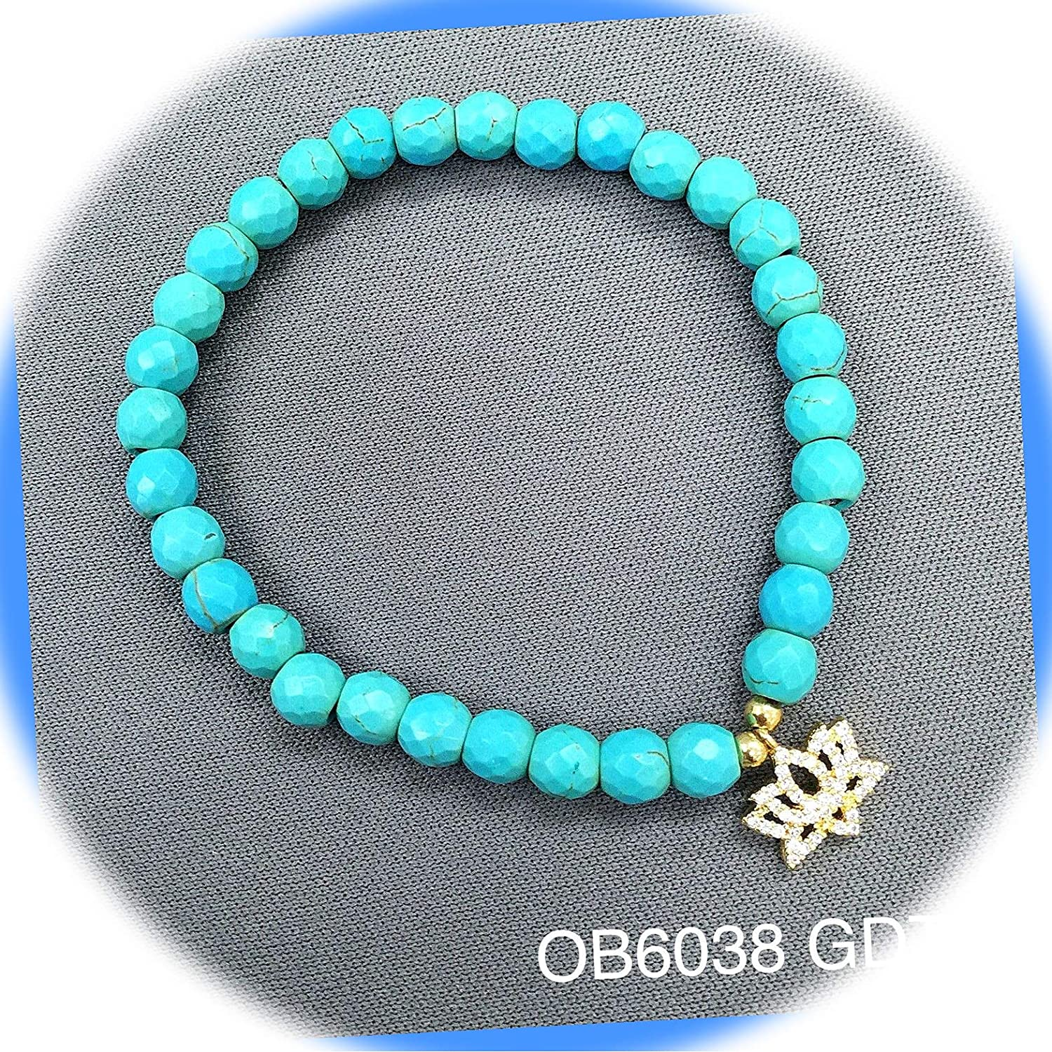 New Regular discount Turquoise Beaded Semi-Precious Cubic Charm Zirconia Str Lily Max 75% OFF